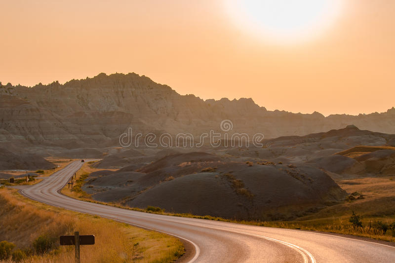 Сценарный взгляд на заходе солнца в национальном парке неплодородных почв стоковое фото rf