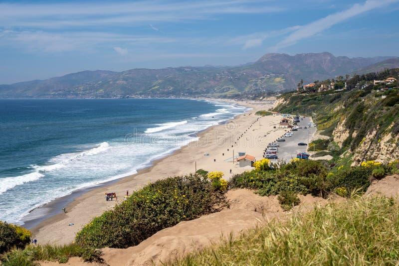 Сценарный взгляд от headland блефа на этап Dume в Malibu Калифорния стоковая фотография rf