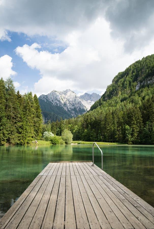 Сценарный взгляд plansarsko озера горы с деревянным footbridge, Словенией стоковое фото