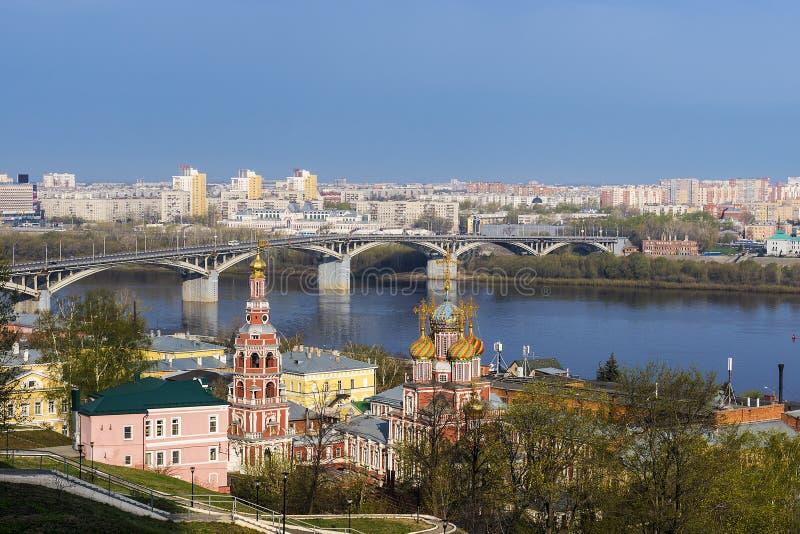 Сценарный взгляд весны Nizhny Novgorod, России стоковая фотография rf