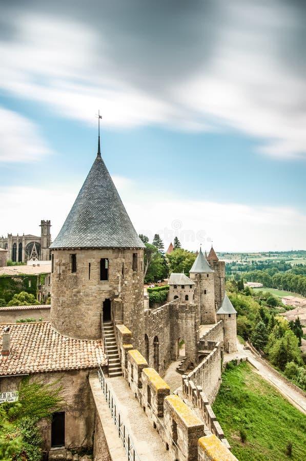 Сценарный взгляд замка Каркассона в Франции. стоковая фотография rf
