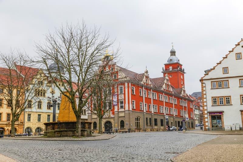 Сценарный взгляд к старой ратуше в Gotha стоковая фотография