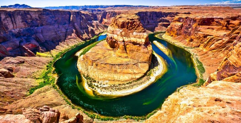 Сценарный взгляд Horseshoe загиба в Колорадо, снаружи стоковые фотографии rf