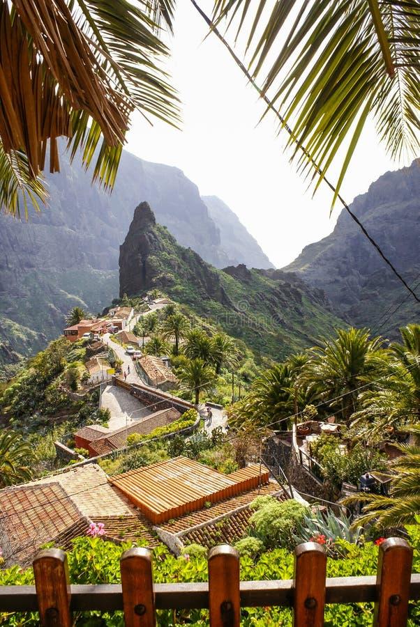 Сценарный взгляд Masca, Тенерифе, Канарских островов, Испании стоковая фотография rf