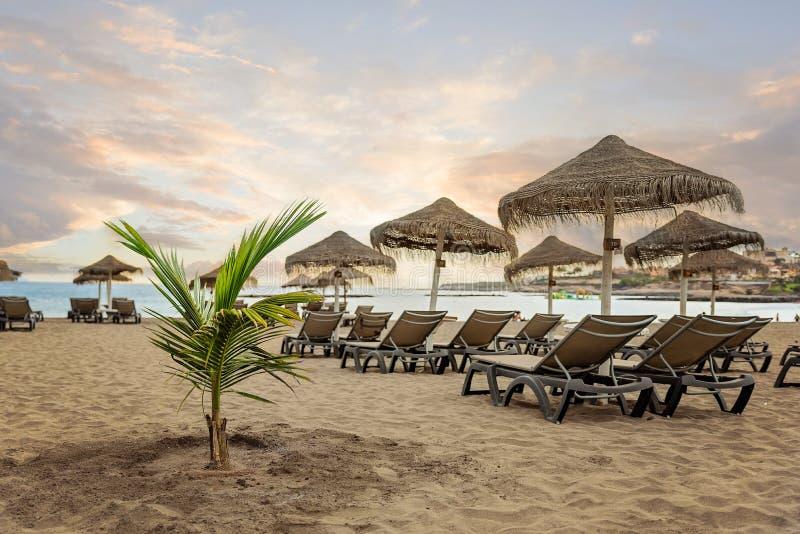 Сценарный заход солнца на песчаном пляже Playa de Torviscas - Тенерифе, Канарских островах стоковые изображения