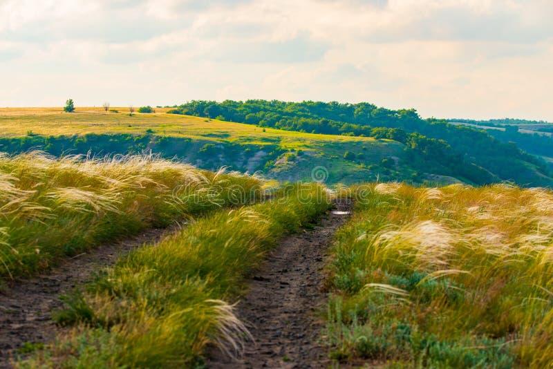 Сценарный ландшафт сельской местности с сельской грязной улицей стоковые изображения