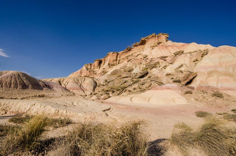 Сценарный ландшафт Bardenas Reales в зоне Наварры Испании стоковые изображения