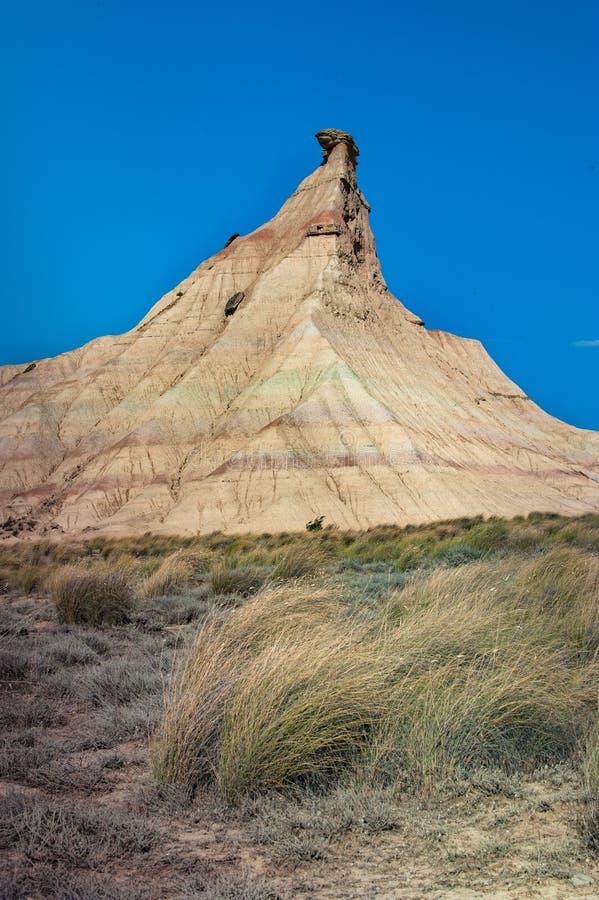 Сценарный ландшафт Bardenas Reales в зоне Наварры Испании стоковая фотография rf