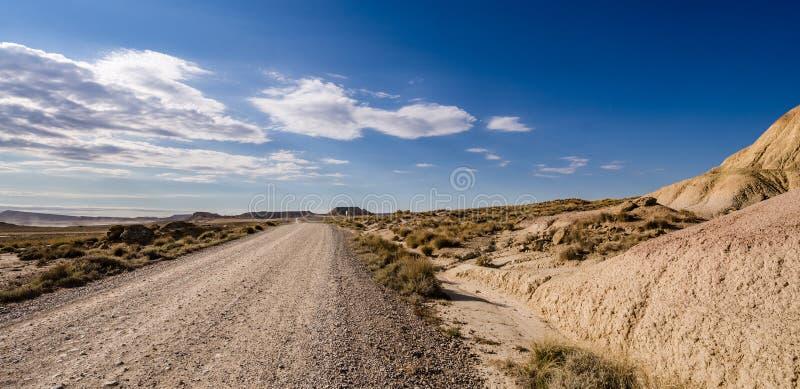 Сценарный ландшафт Bardenas Reales в зоне Наварры Испании стоковая фотография