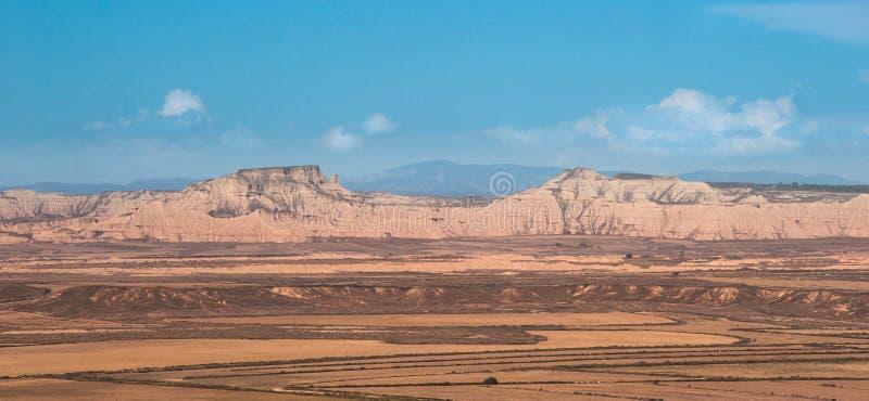 Сценарный ландшафт Bardenas Reales в зоне Наварры Испании стоковое фото rf