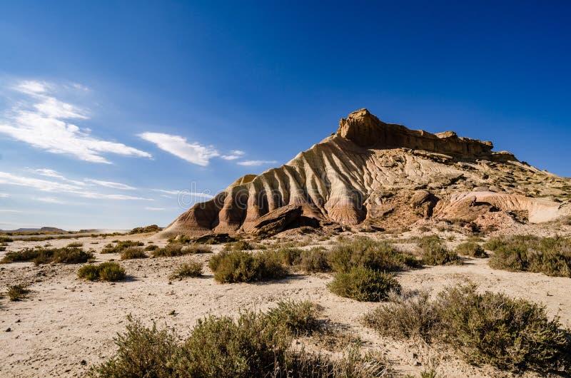 Сценарный ландшафт Bardenas Reales в зоне Наварры Испании стоковое изображение rf