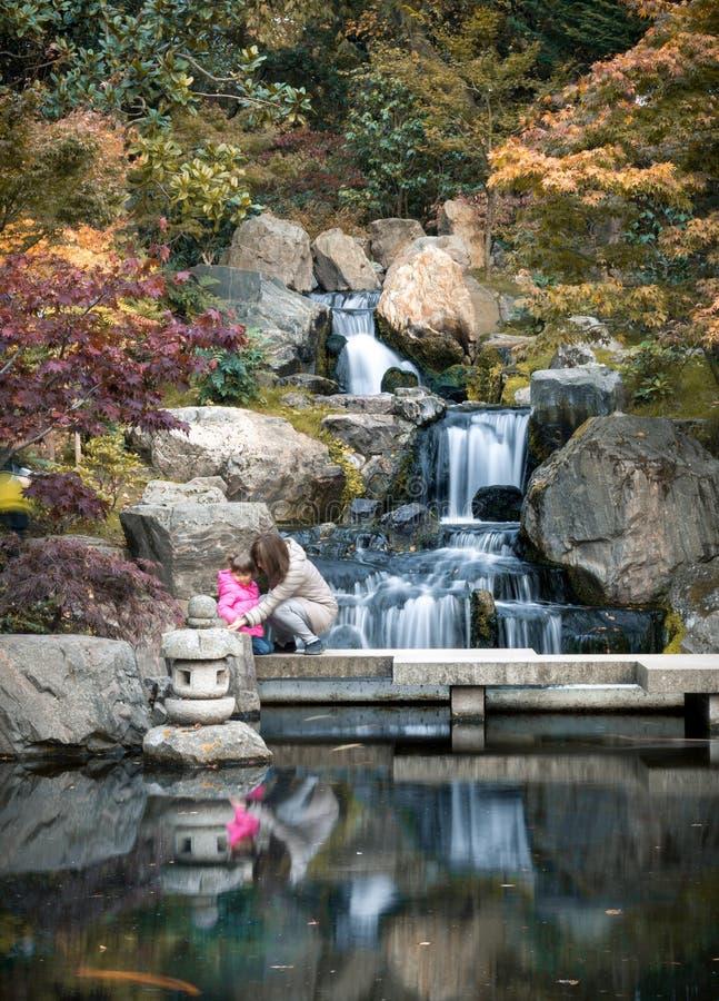 Сценарный японский стиль садовничает с водопадом в парке Лондоне Голландии, Великобритании стоковые изображения