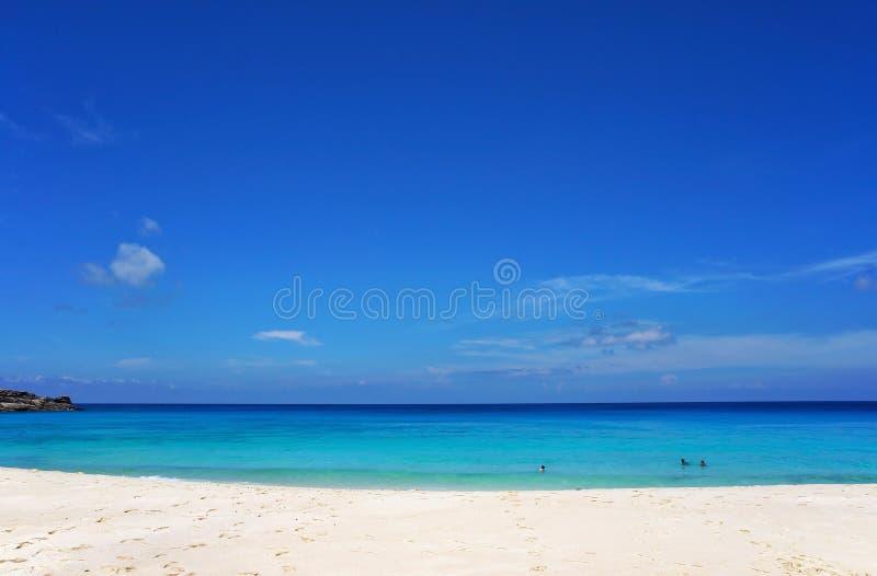 Сценарный seascape лазурной прозрачной воды океана и голубого неба белизна песка пляжа тропическая Идилличный пейзаж курорта на м стоковые изображения rf