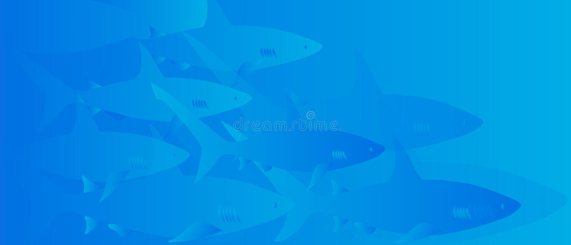 Сцена акулы подводная Иллюстрация сини вектора иллюстрация вектора