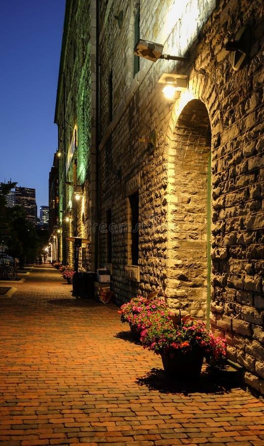 Сцена вечера ночи на районе ликеро-водочного завода Торонто летом Узкий переулок булыжника с цветками в баках стоковая фотография