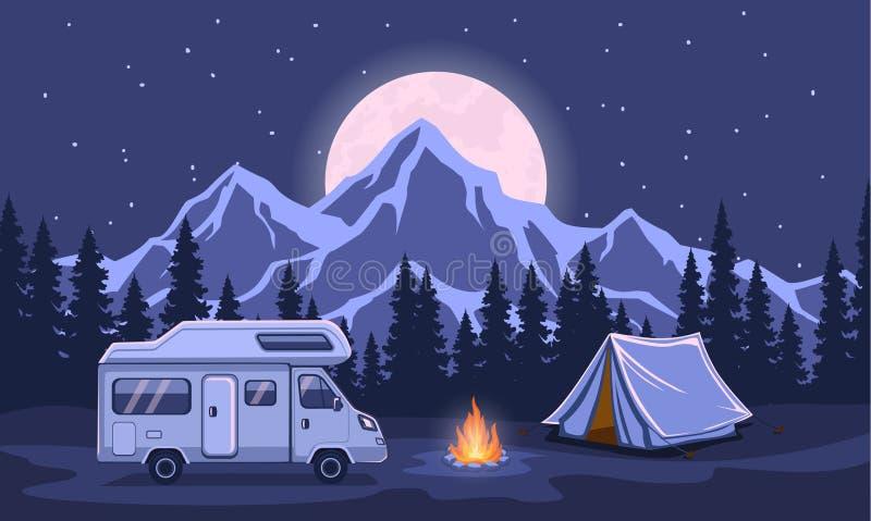 Сцена вечера ночи приключения семьи располагаясь лагерем бесплатная иллюстрация
