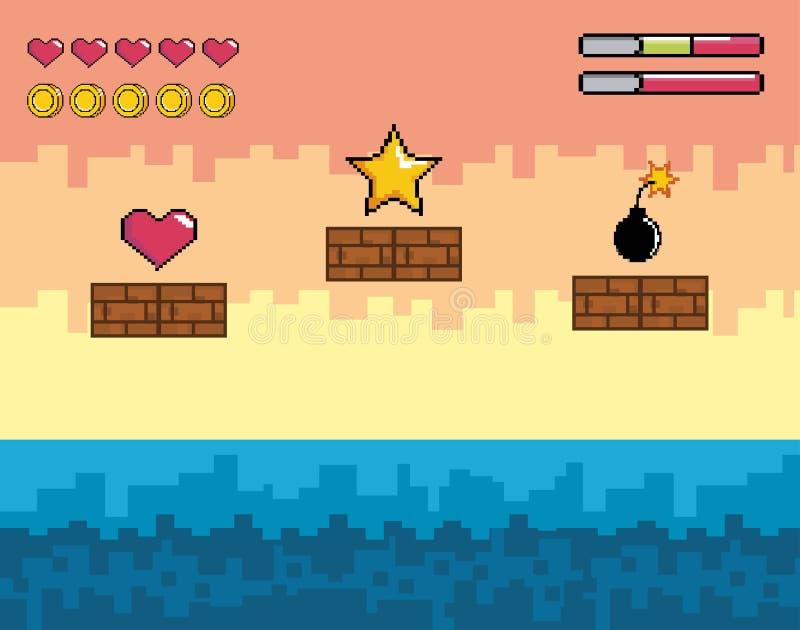 Сцена видеоигры Pixelated со звездой и сердце с бомбой иллюстрация вектора