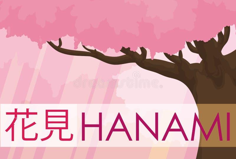 Сцена вишневого дерева и леса зацвела в Hanami, иллюстрации вектора бесплатная иллюстрация