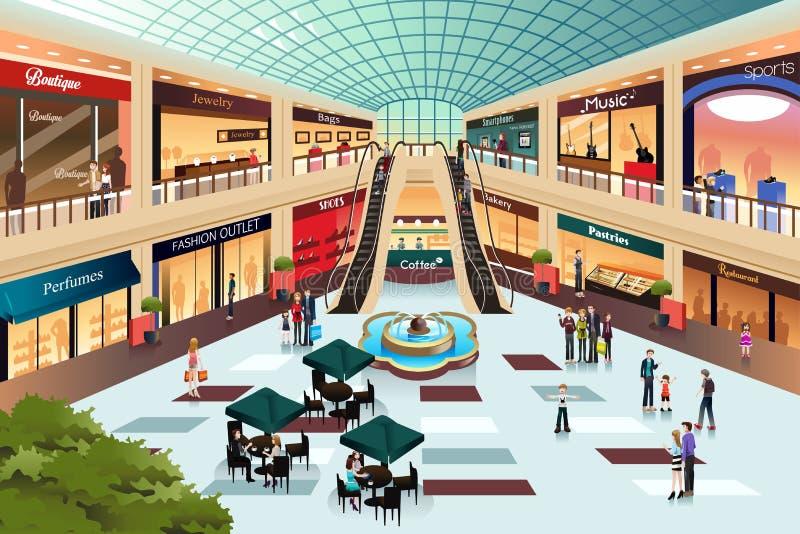 Сцена внутри торгового центра иллюстрация вектора