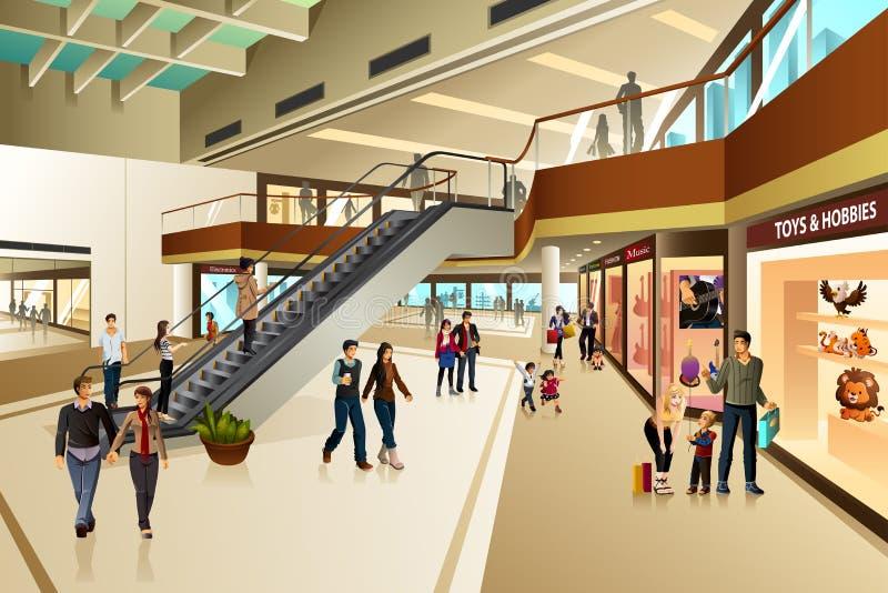 Сцена внутри торгового центра иллюстрация штока