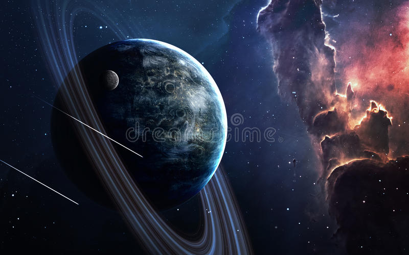Сцена вселенной с планетами, звездами и галактиками в космическом пространстве показывая красоту космического исследования элемен стоковые изображения