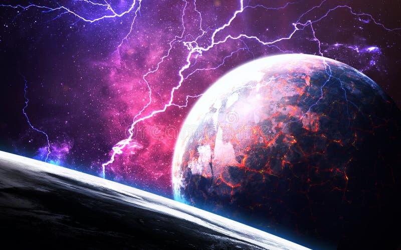 Сцена вселенной с планетами, звездами и галактиками в космическом пространстве показывая красоту космического исследования элемен стоковая фотография rf