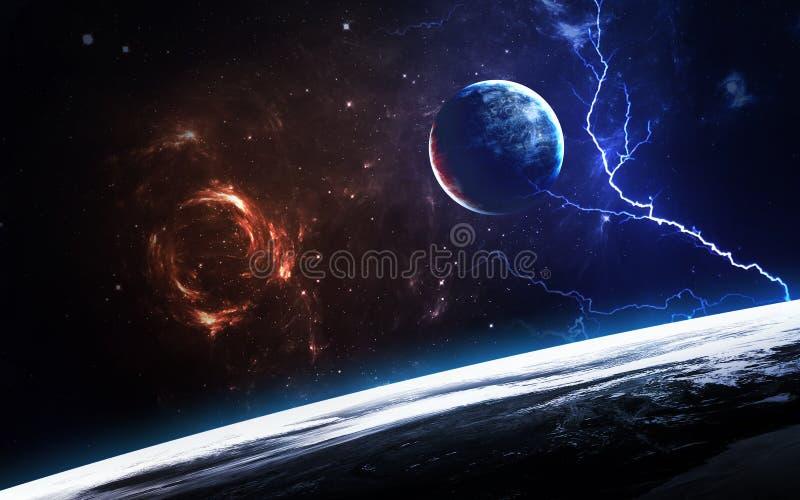 Сцена вселенной с планетами, звездами и галактиками в космическом пространстве показывая красоту космического исследования элемен стоковые фото