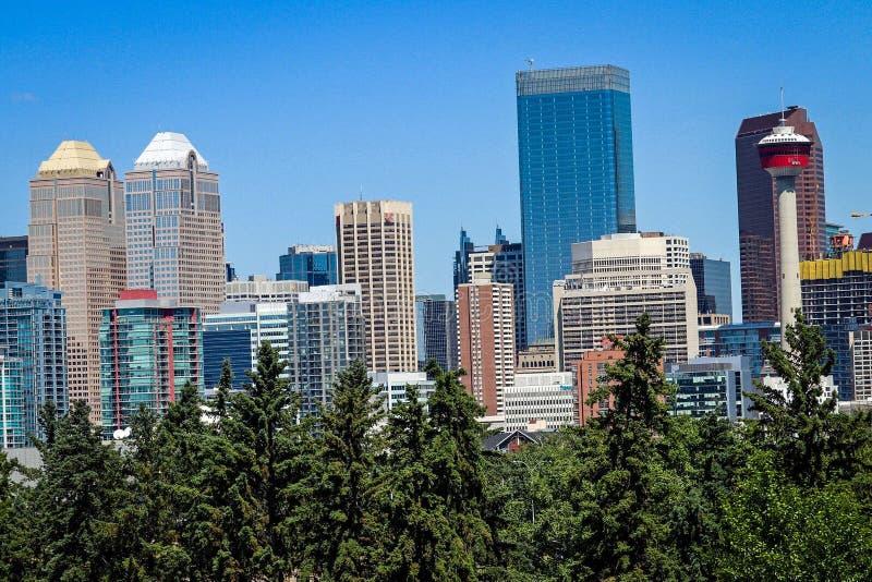 Сцена городского пейзажа городского Калгари Альберты Канады стоковые изображения rf