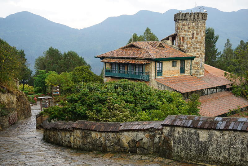 Сцена горы на Monserrate, Колумбии стоковая фотография rf