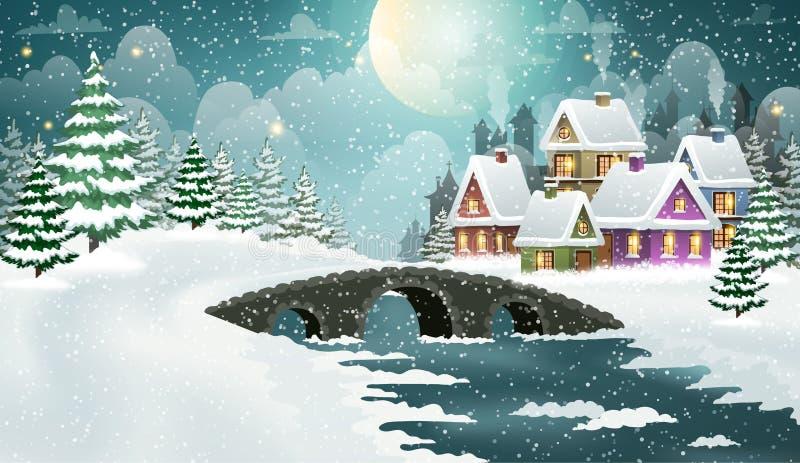Сцена деревни зимы рождества иллюстрация вектора