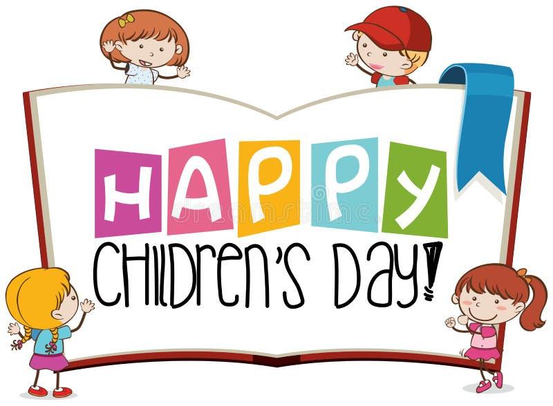 Сцена дня счастливых детей иллюстрация штока