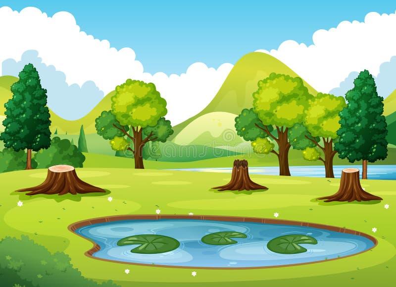Сцена леса с меньшим прудом иллюстрация вектора