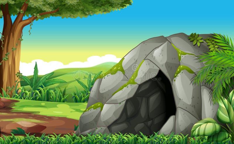 Сцена леса с пещерой иллюстрация вектора