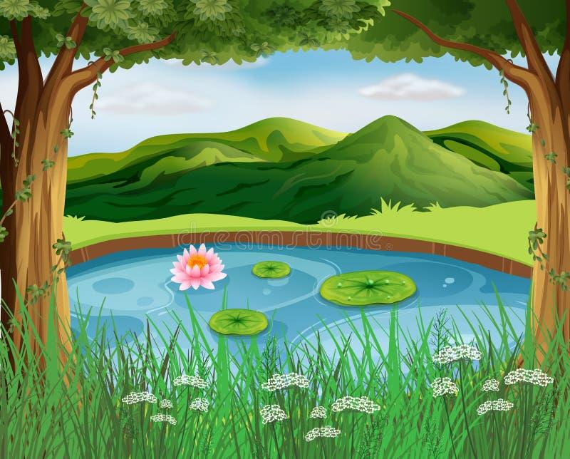 Сцена леса с прудом и горами иллюстрация вектора