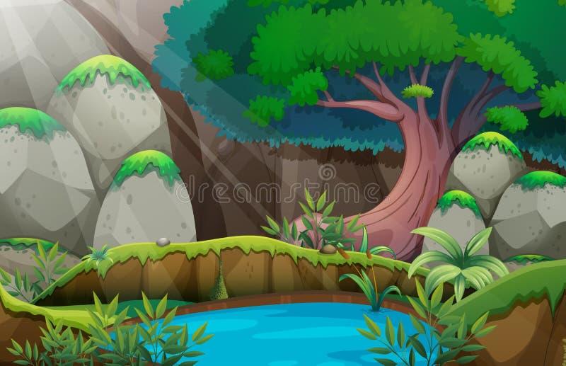 Сцена леса с waterhole бесплатная иллюстрация