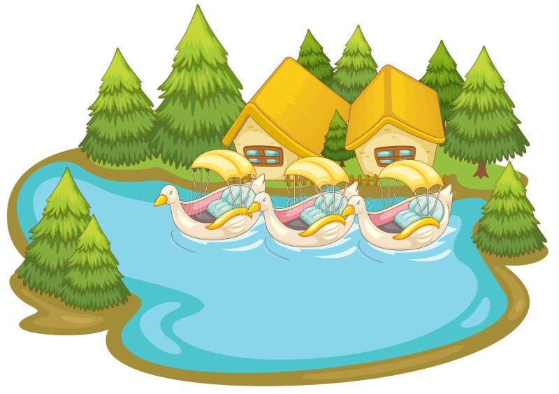 Сцена лета озером бесплатная иллюстрация