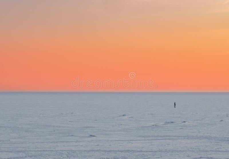 Сцена захода солнца уединенной диаграммы человека в расстоянии в зиме на замороженном озере стоковая фотография