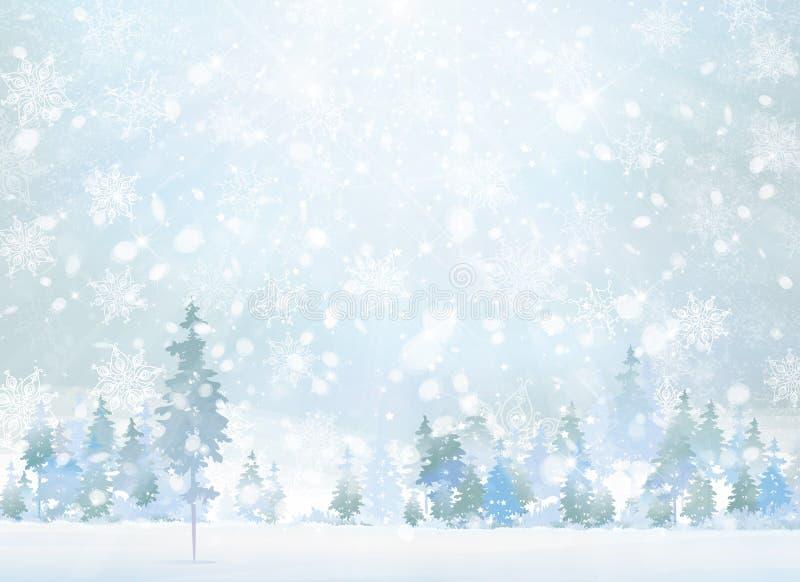 Сцена зимы вектора с предпосылкой леса иллюстрация штока