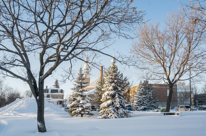 Сцена зимы в Святом-Eustache стоковые фотографии rf
