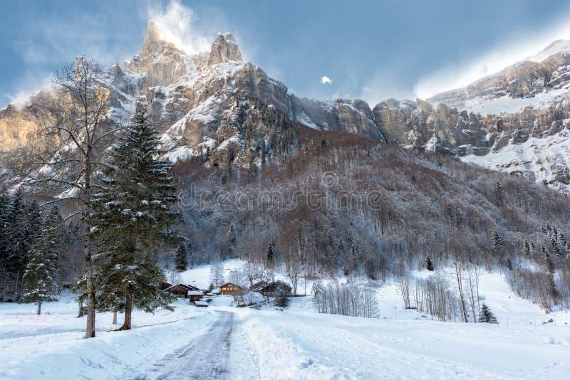 сцена зимы в французских горных вершинах стоковые изображения