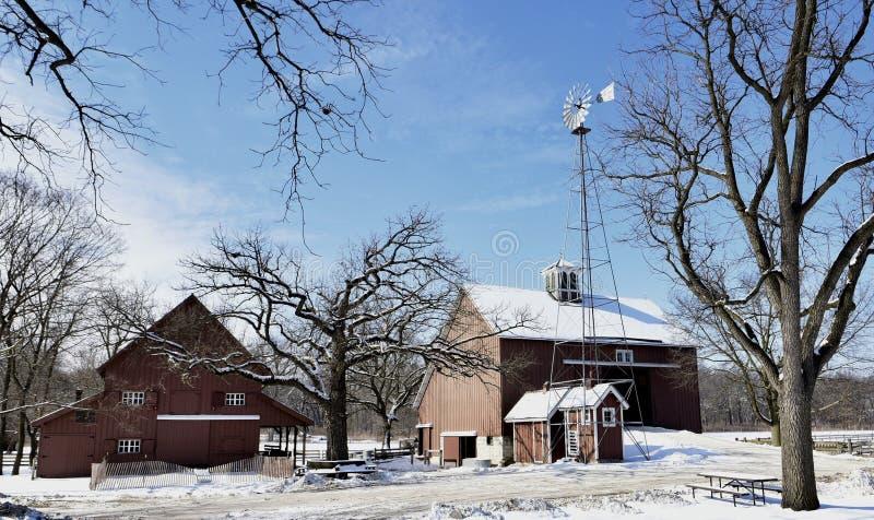 Сцена зимы на ферме стоковая фотография