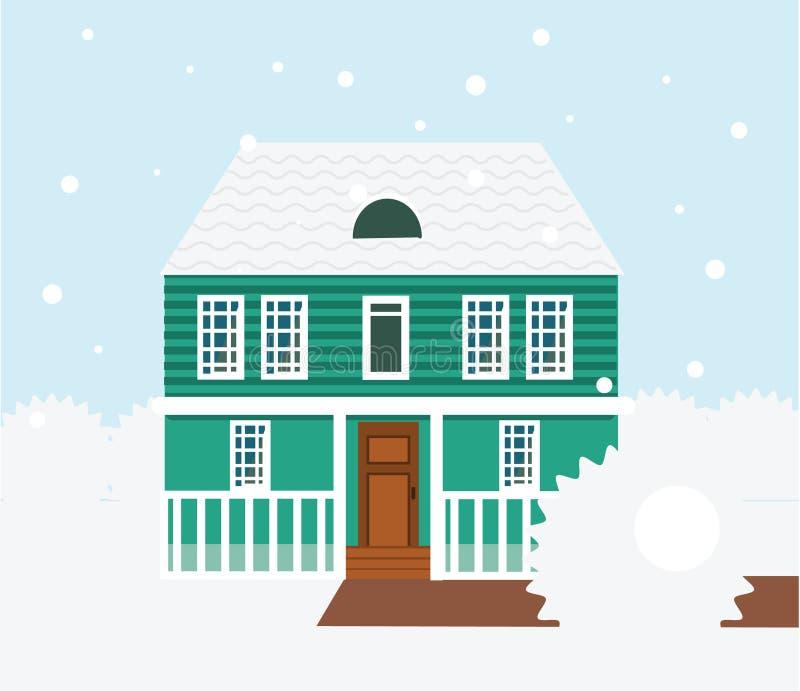 Сцена зимы недвижимости Дом, коттедж, таунхаус, сладостная домашняя иллюстрация иллюстрация штока