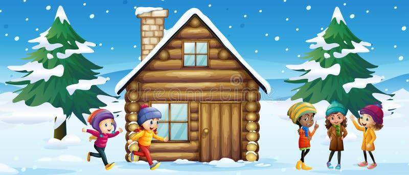 Сцена зимы при дети играя в снеге бесплатная иллюстрация
