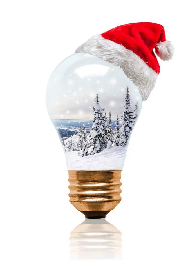 Сцена зимы электрической лампочки глобуса снега рождества со шляпой Санта стоковое фото