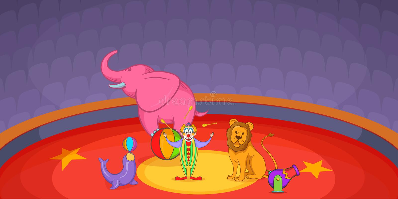 Сцена знамени цирка горизонтальная, стиль шаржа иллюстрация штока