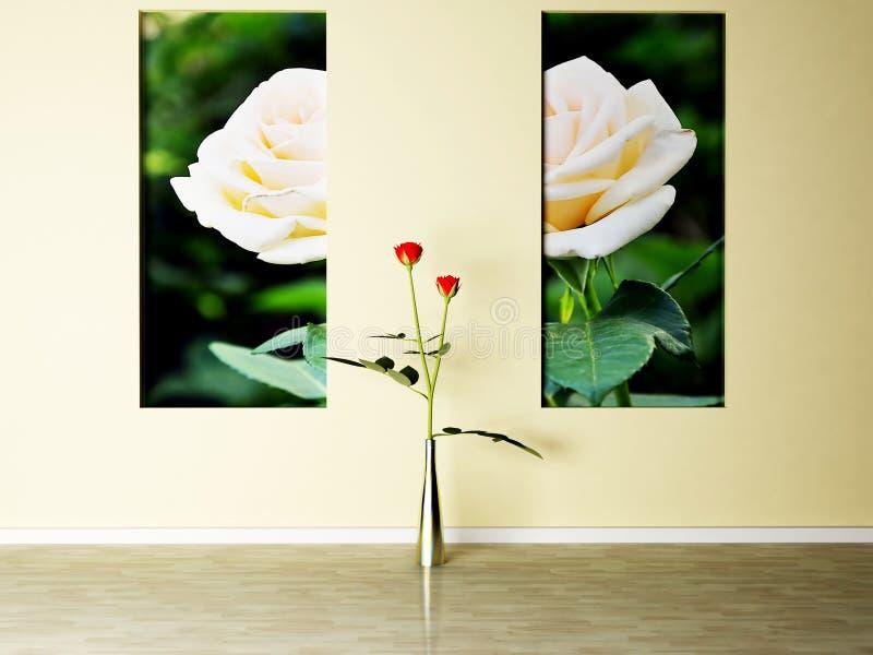 Сцена дизайна интерьера с розы иллюстрация вектора