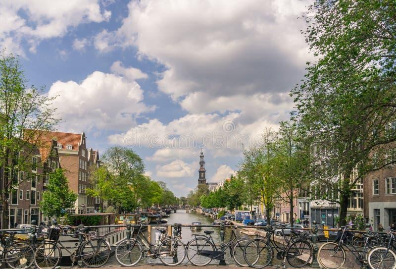 Сцена канала в Амстердаме стоковая фотография rf