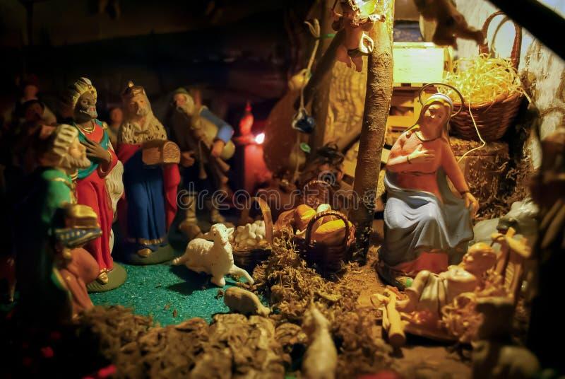Сцена кормушки рождества стоковые фото