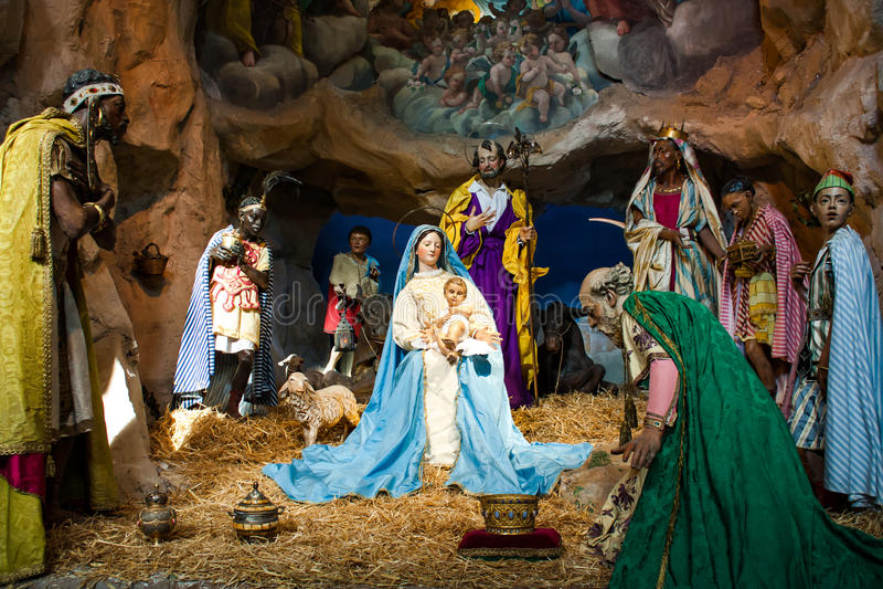 Сцена кормушки рождества стоковая фотография