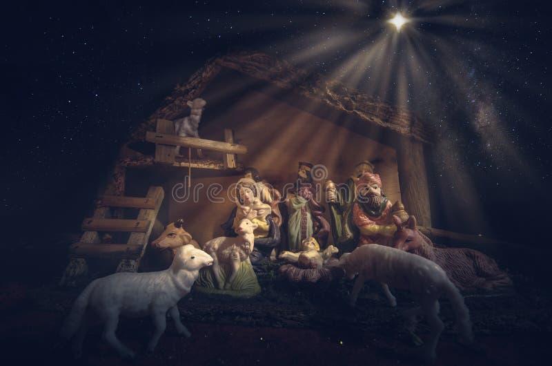 Сцена кормушки рождества стоковое фото rf